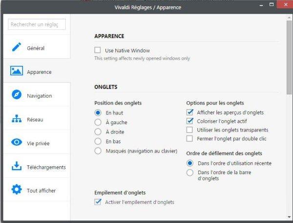 réglage Vivaldi (Navigateur Web)