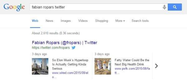 Tweet sur Google